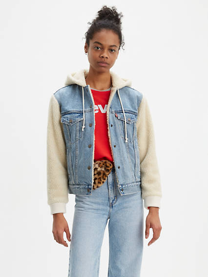 Ex-Boyfriend Sherpa Hooded Trucker Jacket