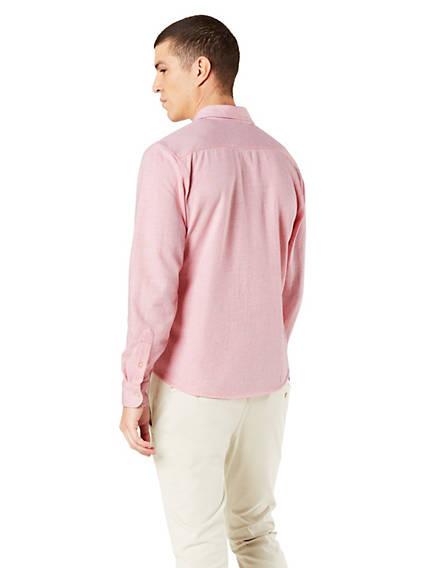 Men's Knit Button-Up Shirt, Slim Fit