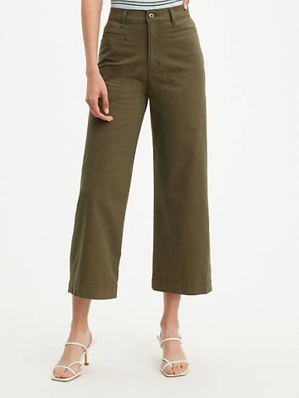 Ribcage Wide Leg Cropped Women's Pants