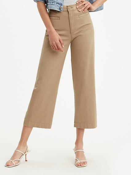 Pantalon Joli thorax à jambe large abrégée pour femme