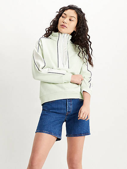 Nylon Pieced Quarter Zip Sweatshirt