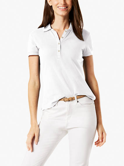 Dockers Women's V-neck Polo XS This polo shirt is a casual classic for warm weather, and is made from textured, breathable fabric with a hint of stretch. Women's V-neck Polo XS - White. Dockers Official Site.