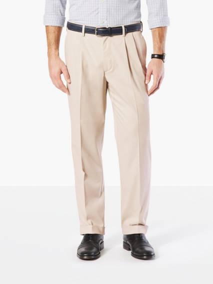 Men's Comfort Khaki Pleated Pants, Classic Fit