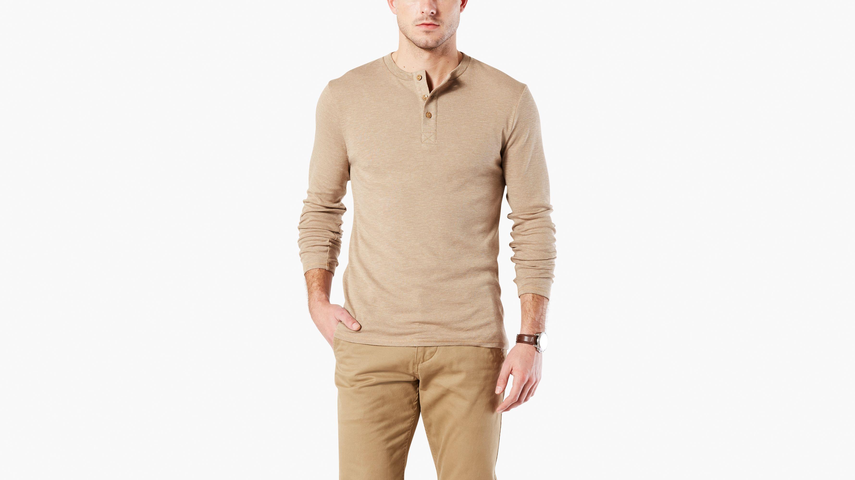 khaki henley shirt