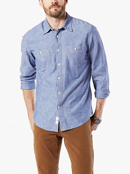 Chambray Button-Up Shirt, Slim Fit
