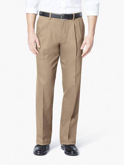 Pantalon kaki extensible Signature à pli, coupe classique