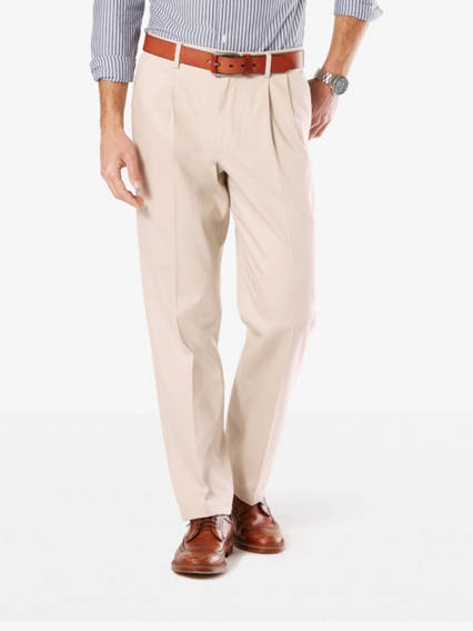 Big & Tall Signature Stretch Khaki Pleated Pants