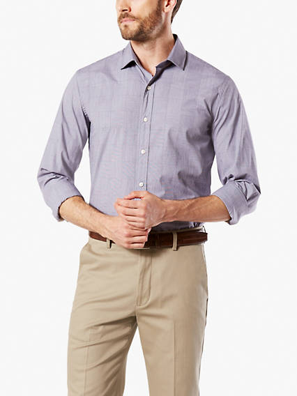 Stretch Poplin Button-Up Shirt, Slim Fit