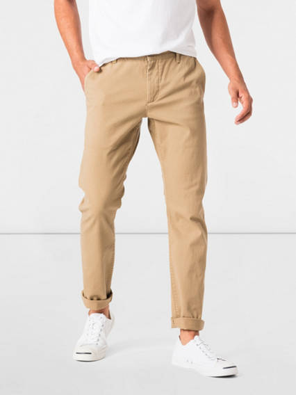Washed Khaki Pants, Skinny Tapered Fit