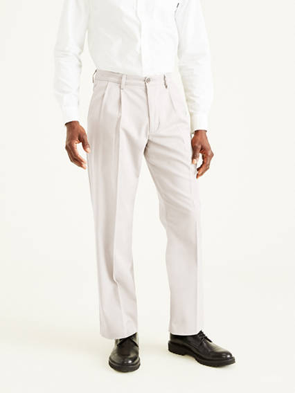 Easy Stretch Khaki Pleated Pants, Classic Fit