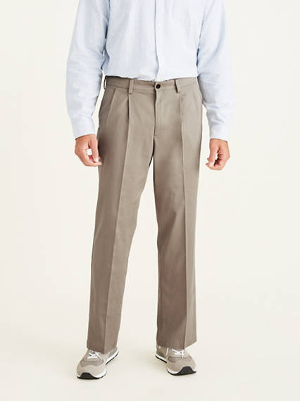 Big & Tall Easy Stretch Khaki Pleated Pants, Classic Fit
