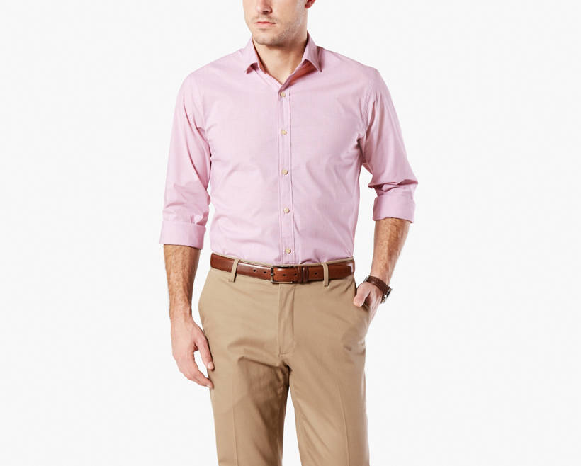 No Wrinkle Shirt Standard Fit Red 349080007 Dockers Us