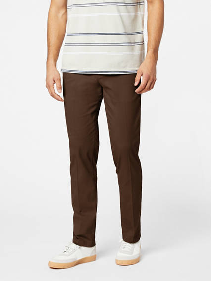 Easy Stretch Khaki Pleated Pants, Slim Fit