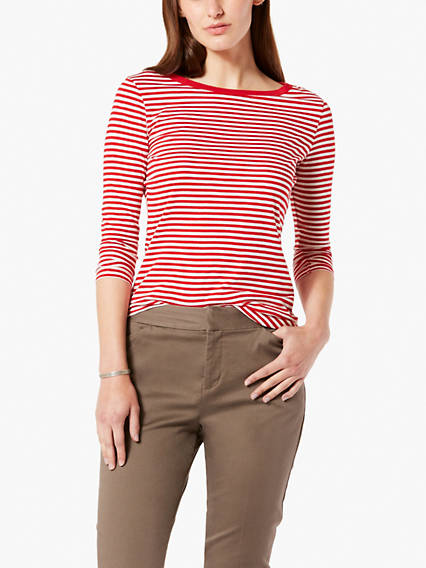 Dockers Women's Stripe Tee Shirt T-Shirt M With a wide neckline and classic stripes, this shirt has a nautical look and fits into any outfit. Women's Stripe Tee Shirt T-Shirt M - Red. Dockers Official Site.