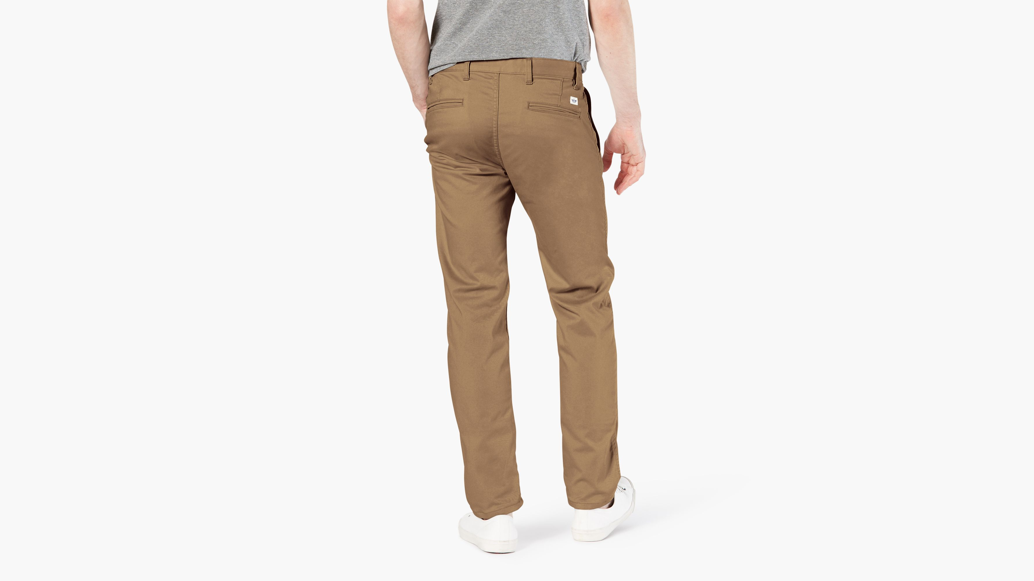 Dockers Men/'s Red Alpha Khaki Pant Slim Fit Tapered Flat Front