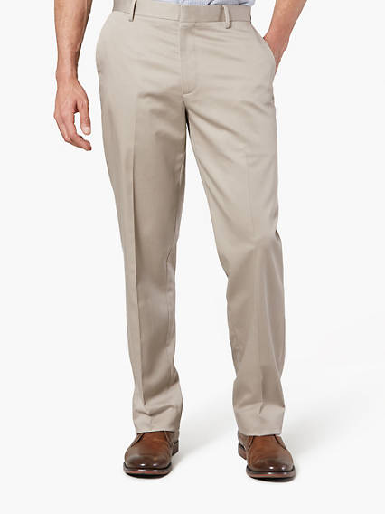 Creased Khaki Insignia Wrinkle Free Khaki, Straight Fit - Stretch Twill