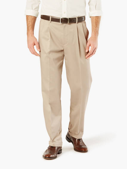 Wrinkle Free Khaki Pleated Pants, Classic Fit
