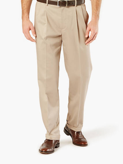 Creased Khaki Wrinkle Free , Classic Pleated - Stretch Twill
