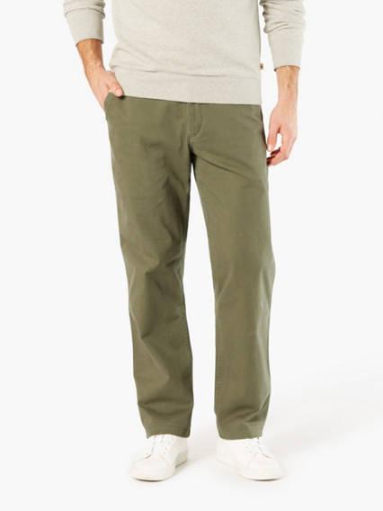 Men's Washed Khaki Pants, Straight Fit