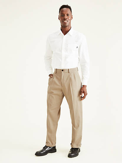 super service soft and light large discount Men's Easy Stretch Khaki Pleated Pants, Relaxed Fit