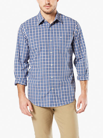 Washed Poplin Button-Up Shirt, Standard Fit