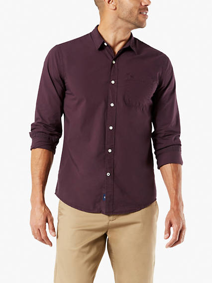 Laundered Poplin Button-Up Shirt, Slim Fit