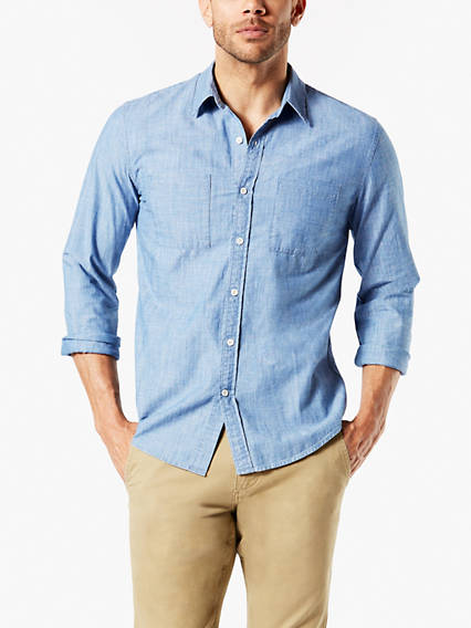 Chemise chambray, coupe étroite