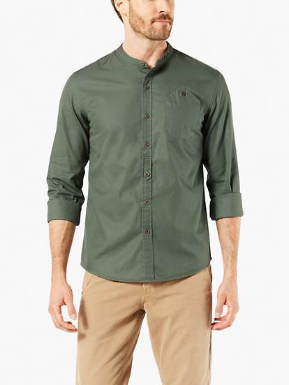 d666ab48e2b052 Dockers® Alpha Band Collar Button-up Shirt, Slim Fit - Grey 569390001 |  Dockers® US