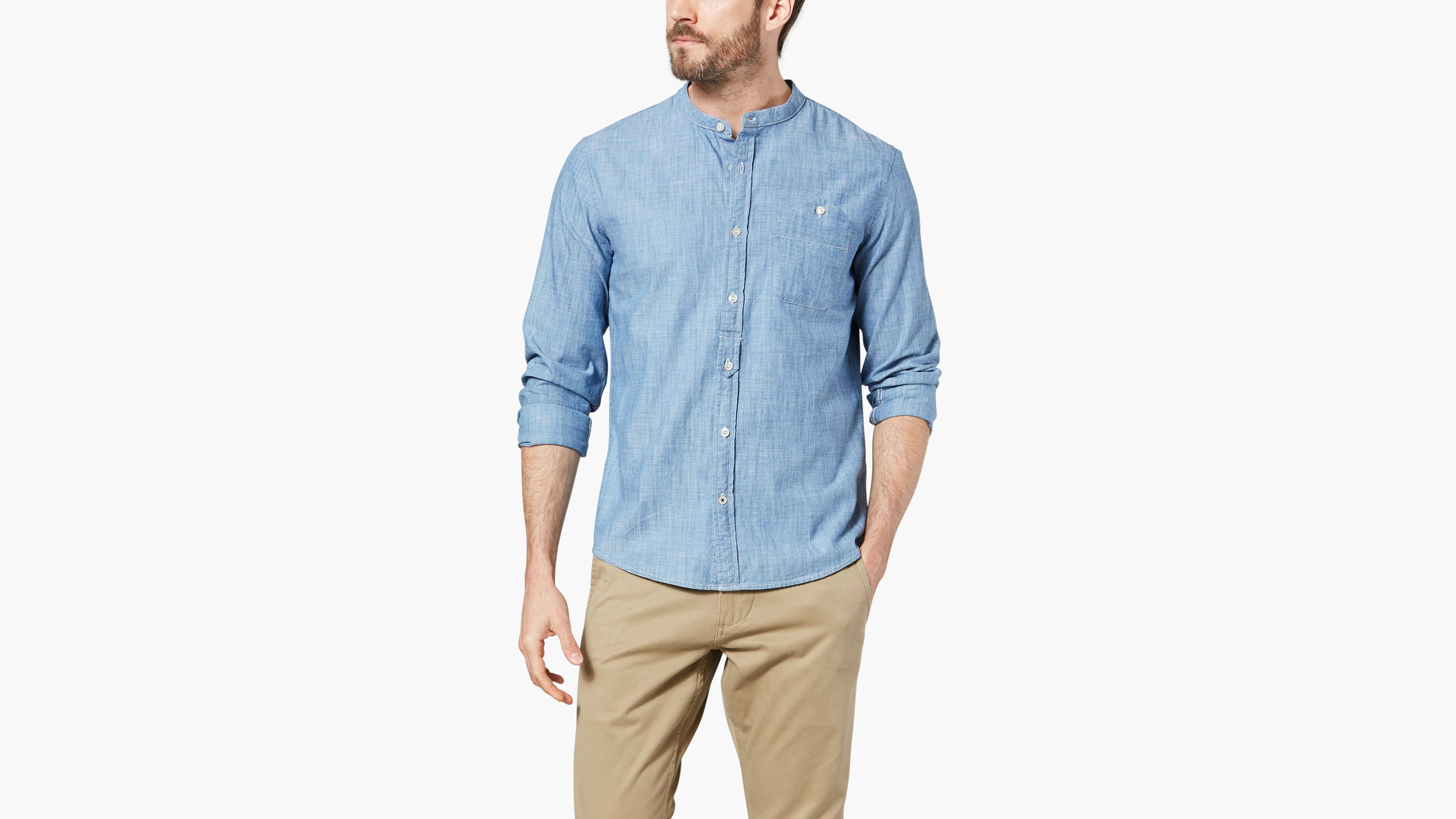 0bd753cfc042bc Dockers® Alpha Band Collar Button-up Shirt, Slim Fit - Blue 569390003 |  Dockers® US