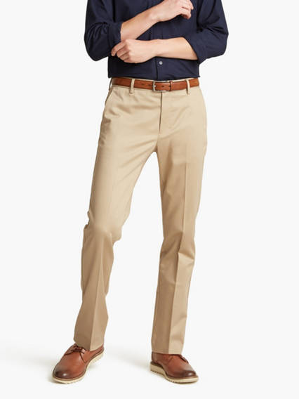 Alpha Never Iron Khaki Pants, Slim Tapered Fit
