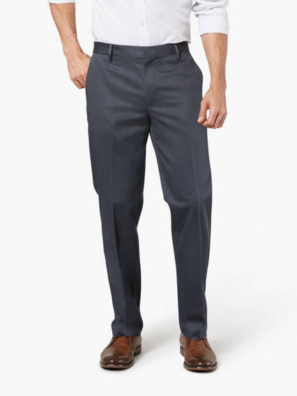 Alpha Never Iron Khaki Pants, Straight Fit