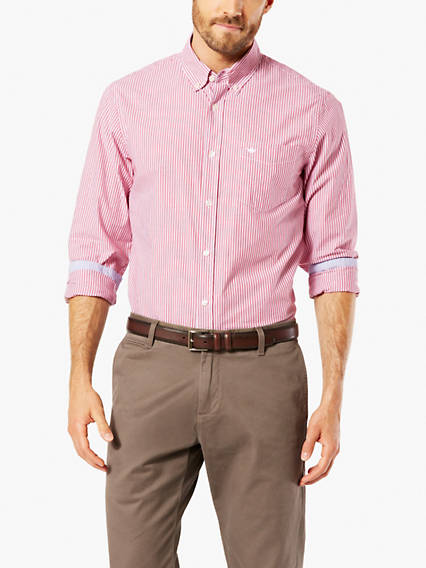Essential Poplin Button-Up Shirt, Standard Fit