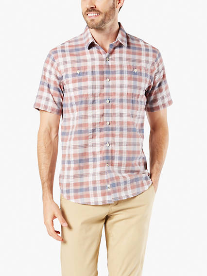 Performance Seersucker Short Sleeve Button-Up Shirt, Standard Fit