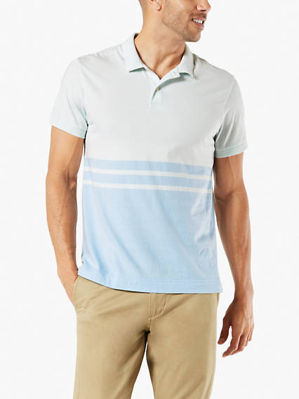 Men's Jersey Stripe Polo Shirt