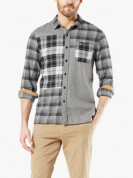 Mixed Print Flannel Button-Up Shirt With All Seasons Tech™