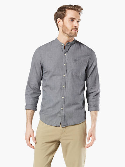 Band Collar Button-Up Shirt, Slim Fit