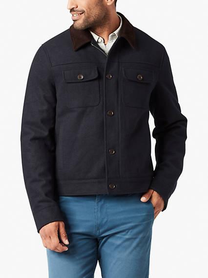 Wool Blend  Corduroy Collar Jacket