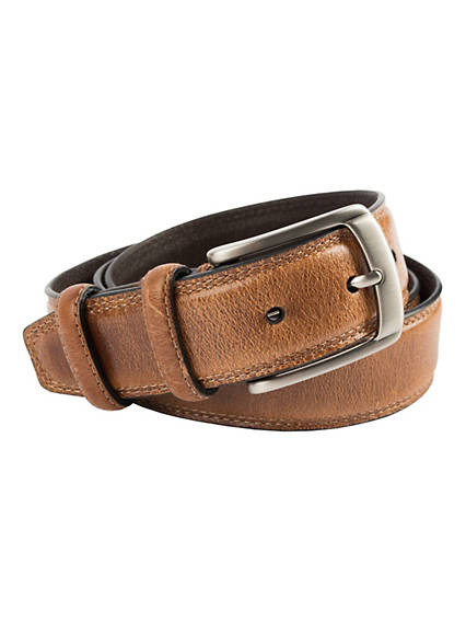 Men's Stitched Drop Edge Leather Belt