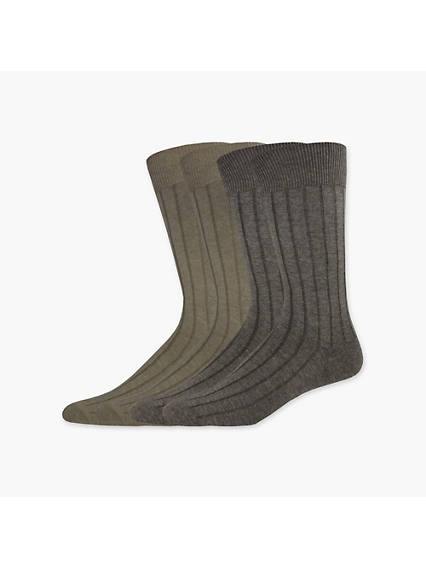 Wide Rib Crew Dress Socks