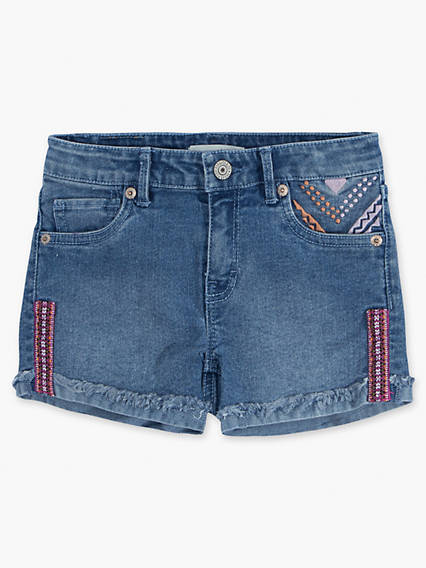 Little Girls 4-6x Embroidered Shorty Shorts