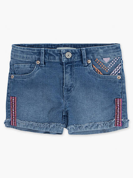 Girls 7-16 Embroidered Shorty Shorts