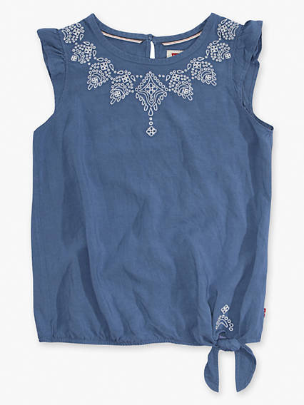 Toddler Girls 2T-4T Woven Hem Tie Tank Top