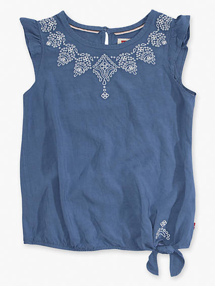 Little Girls 4-6x Woven Hem Tie Tank Top