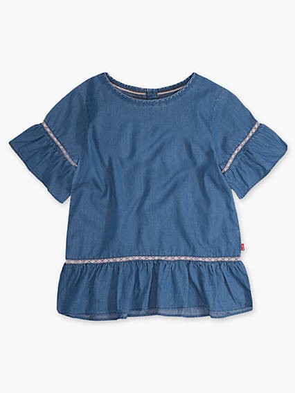 Girls 7-16 Short Sleeve Ruffle Play Shirt