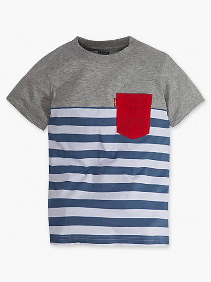Boys 8-20 Striped Blocked Sunset Pocket Tee