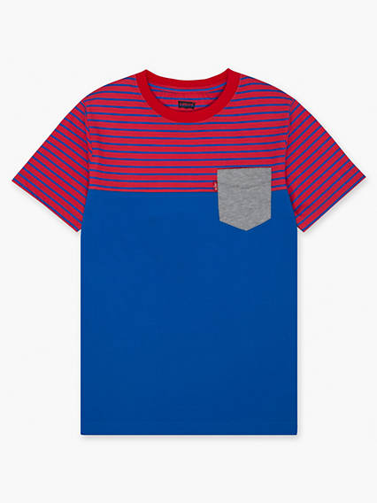Boys 8-20 Striped Blocked Sunset Pocket Tee Shirt