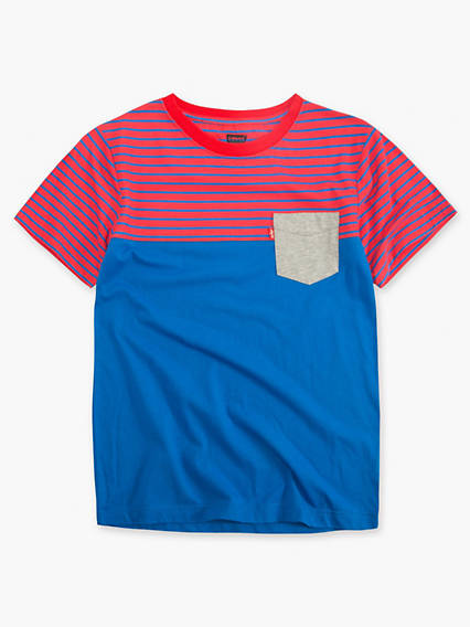 Little Boys 4-7x Striped Blocked Sunset Pocket Tee
