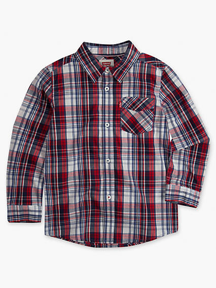 Little Boys 4-7x Long Sleeve One Pocket Plaid Shirt