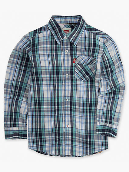 Boys 8-20 Long Sleeve One Pocket Plaid Shirt