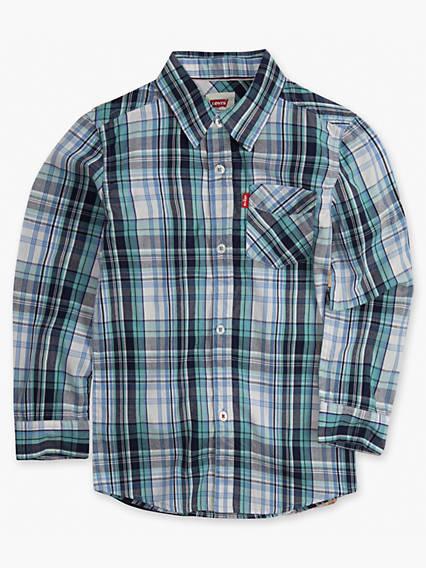 Boys 8-20 Long Sleeve One Pocket Plaid Shirt
